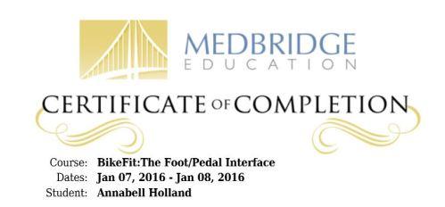 Foot Pedal Certificate